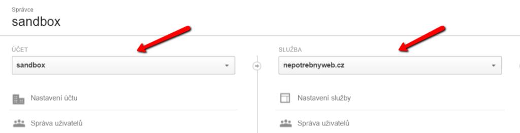 Výběr služby v Google Analtics